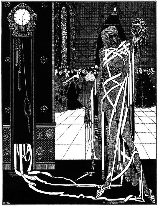 An illustration for the story The Masque of the Red Death by the author Edgar Allan Poe